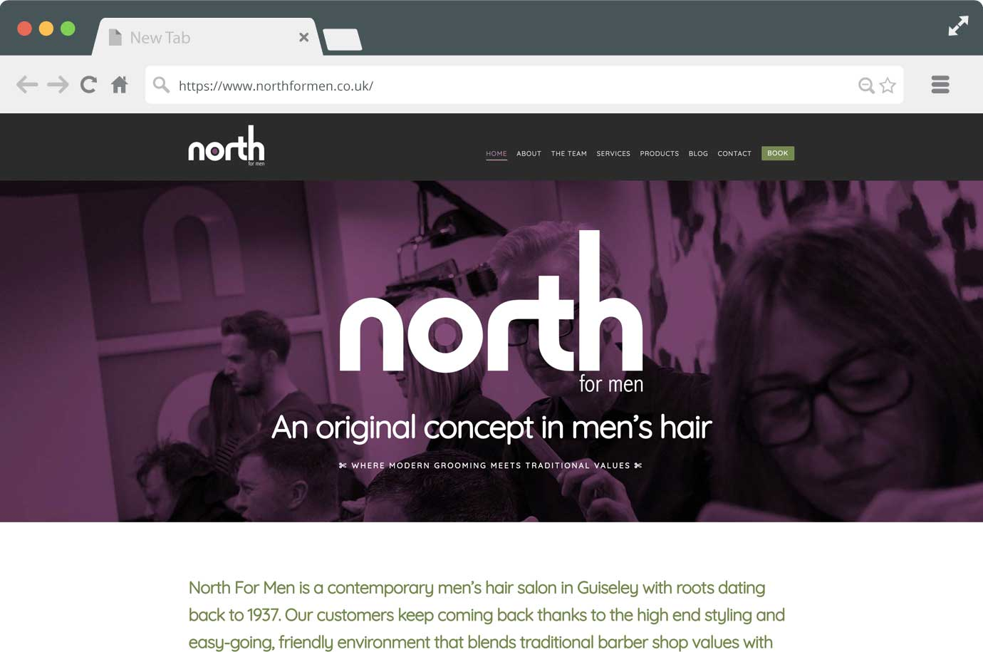 North For Men website
