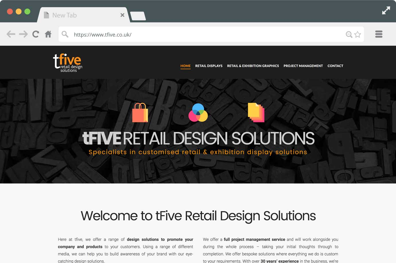 TFive Retail Design Solutions website