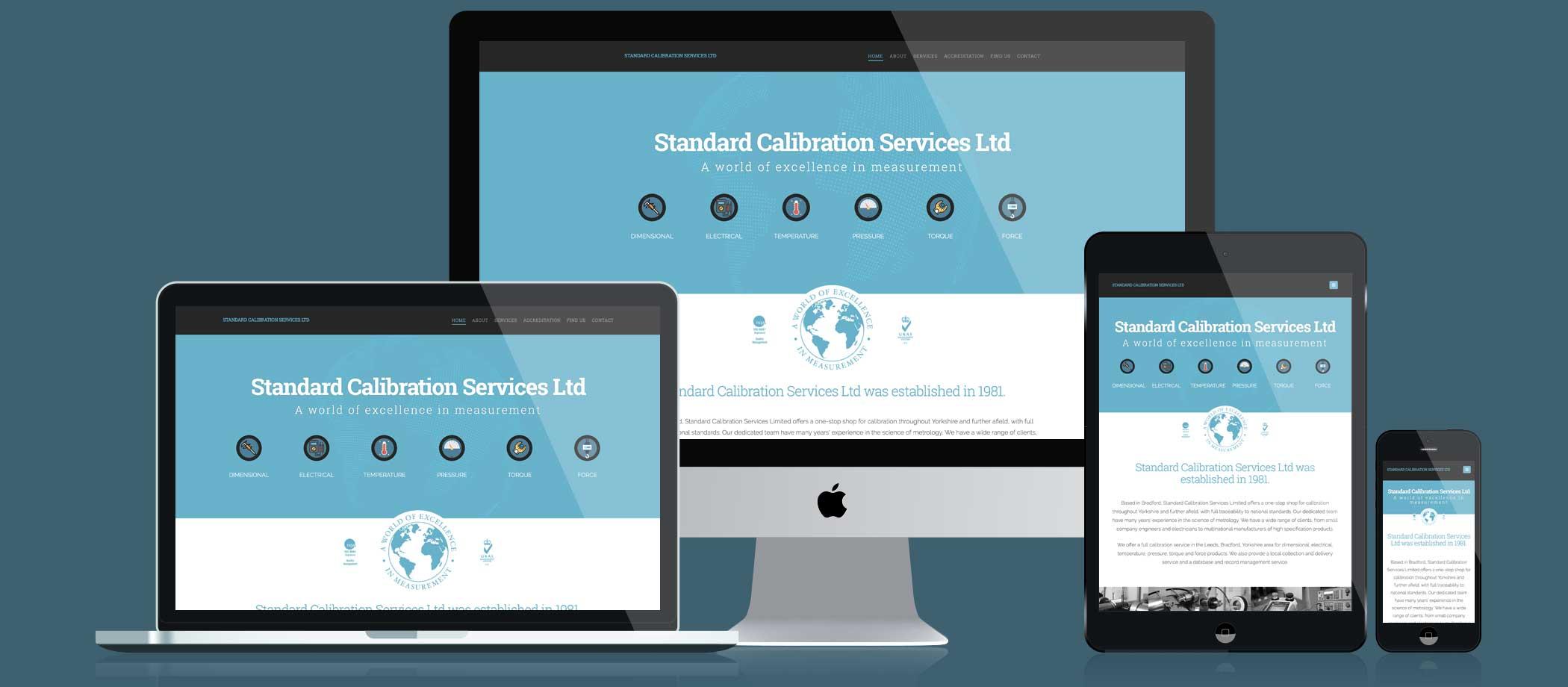 Standard Calibration Services website responsive displays