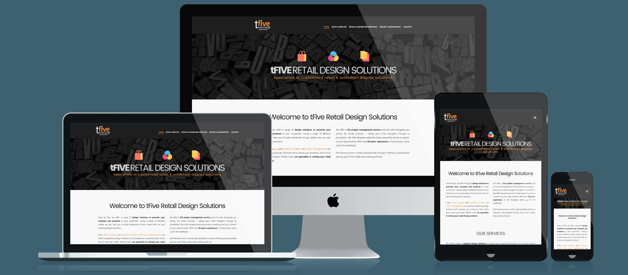 TFive Retail Design Solutions website responsive displays