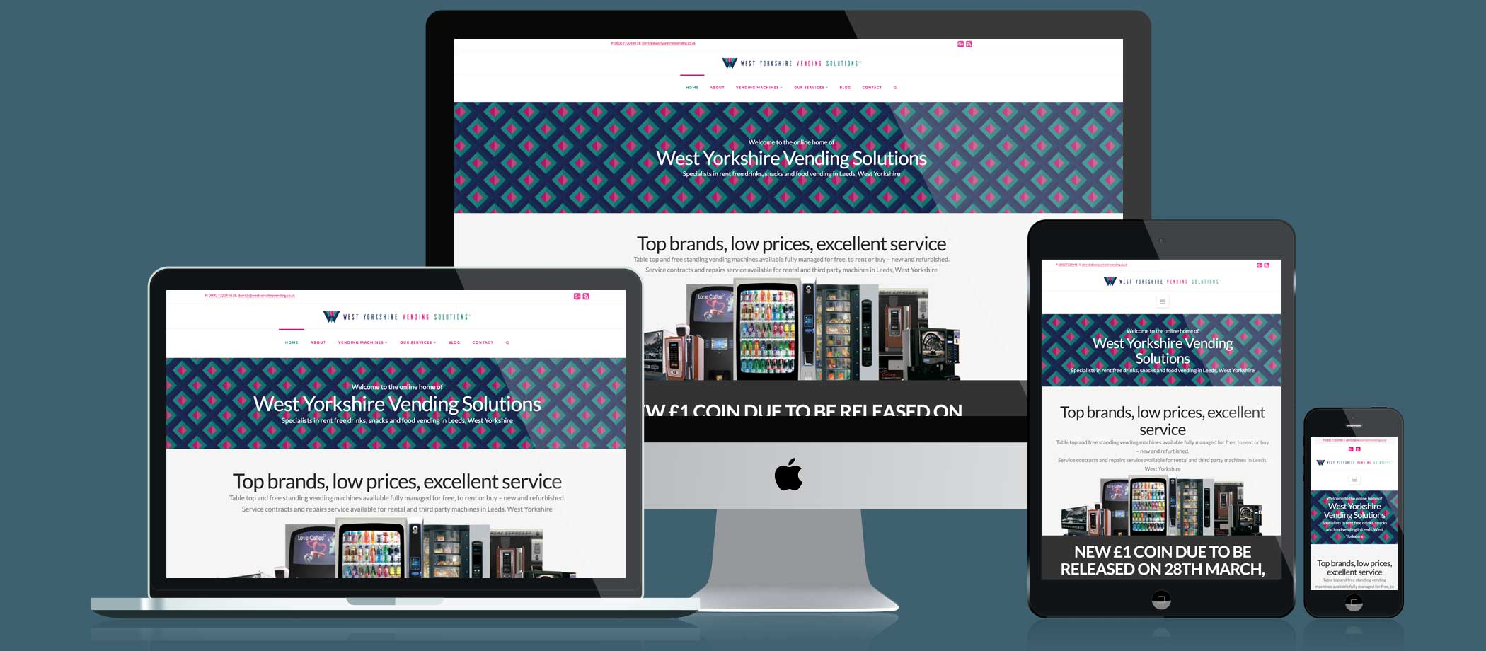 West Yorkshire Vending Solutions Website responsive displays